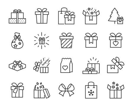 christmas and happy new year gift icons Illusztráció