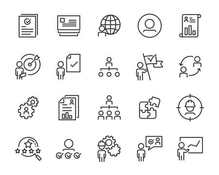 set of work icons, such as job, search, business, training, skills Ilustración de vector