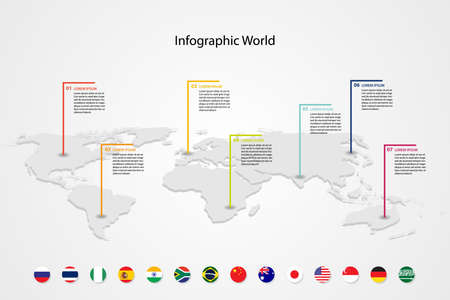 infographic country world map, international world flags, continents background Illusztráció