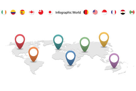 infographic country world map, international world flags, continents background Illustration