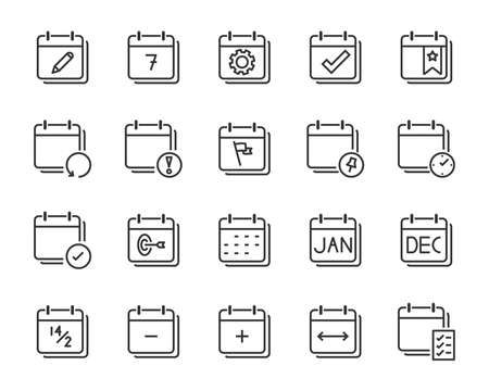 set of time relation vector line icon, such as calendar, reminder, day, year 2019, event
