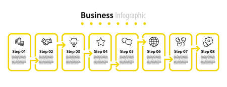 infographic element design 8 step, infochart planning Illusztráció