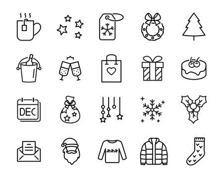 set of christmas icons, such as new year, celebration, december, cake Illustration