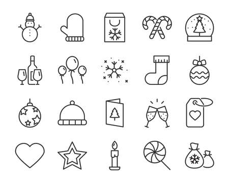 set of christmas icons, such as new year, celebration, december, cake Illusztráció