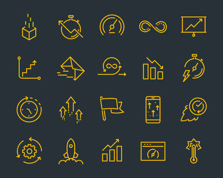 simple set of vector line icons, contain such lcon as speed, agile, boost, process, time and more 版權商用圖片 - 126938193