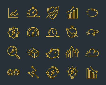 simple set of vector line icons, contain such lcon as speed, agile, boost, process, time and more 版權商用圖片 - 126938194