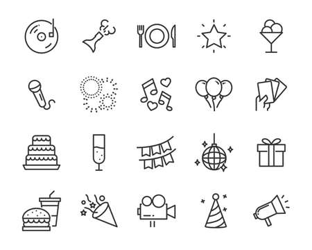 set of celebration line icon, such as happy, fun, celebrate, christmas Illusztráció