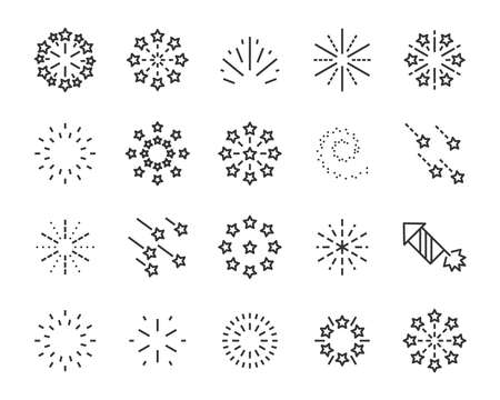 set of firework icons, such as sparkle, party, star