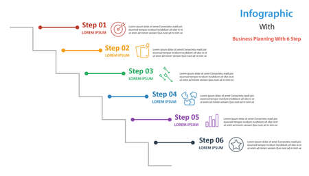 infographic element design 6 step, infochart planning