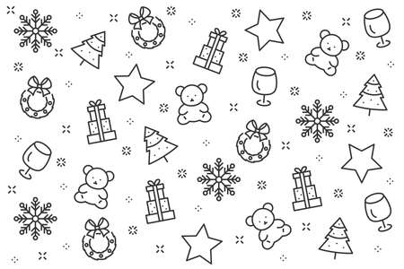 christmas background and happy new year 2019, christmas icons set