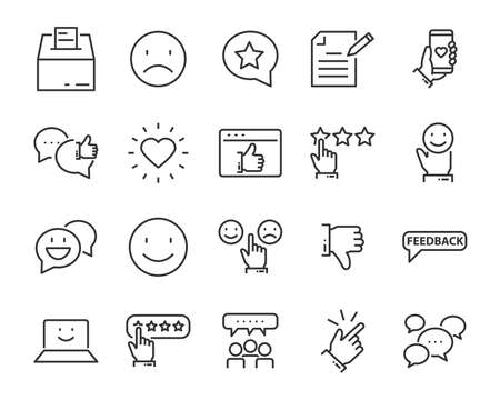 set of feedback line icons, such as, question, review, test, app