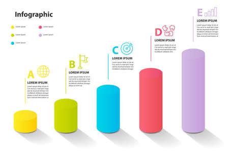 infographic element design 5 step, infochart planning