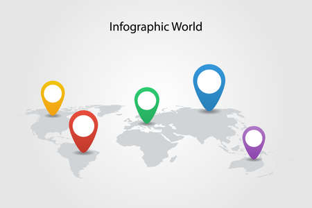 infographic country world map, international world flags, continents background Stock Illustratie