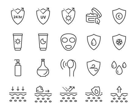 set of skin line icons, facial sun block icon, facial mask Stock Illustratie