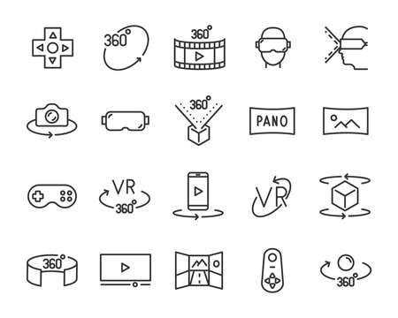 set of vr line icons, such as 360 degree, 3d, virtual Stock Illustratie