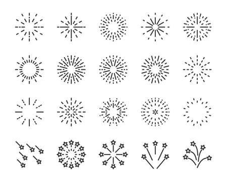 firework line icon set, happy new year firework