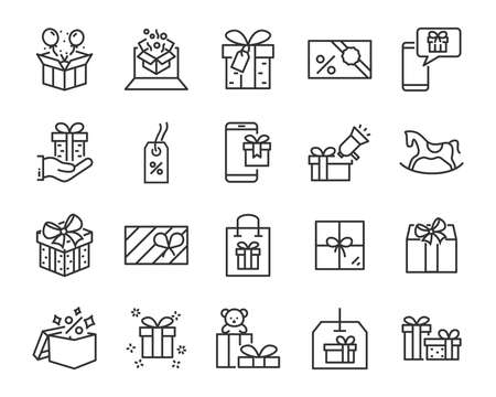 set of gift box line icons, christmas and happy new year gift