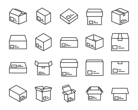 set of send box icons, such as delivery, gift, shopping, present
