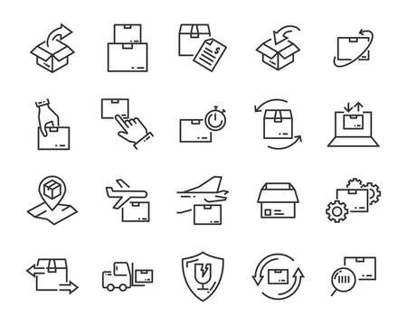 set of send icons, such as delivery, transport, mail, service