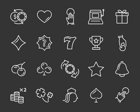 set of vector casino line icon, such as game, poker, card and more