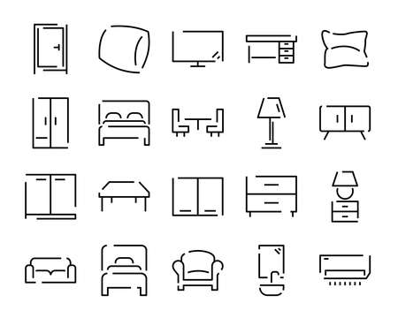 home furniture interiors line icons set