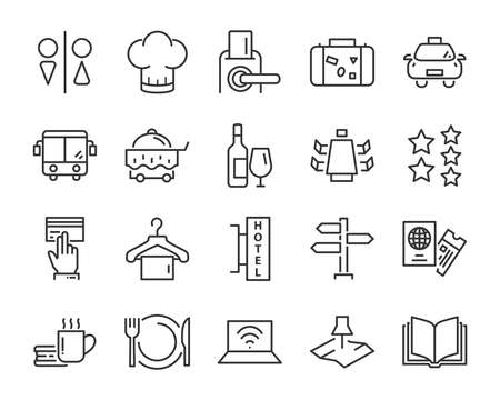 hotel line icons set, such as furniture, booking, bed, park, dinning room