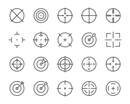 set of target line icons, such as job hunting, aiming, arrow