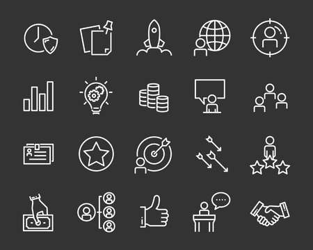 set of job seach icons ,such as work, career, traning, business, skill, meeting