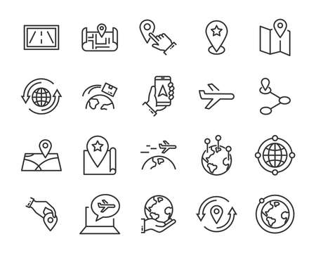 set of world map vector line icons, such as map, way, globe
