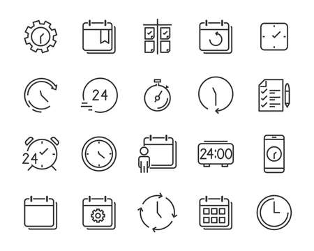set of time relation vector line icon, such as calendar, reminder, day, year 2019, event Vektorové ilustrace