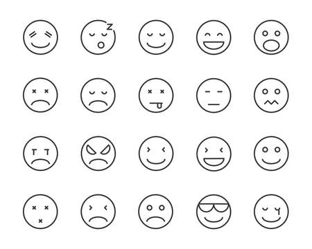 set of emoji vector line icons, such as happy, sleepy, mood, sad, angry, bore, feel