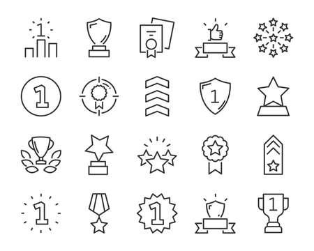 Reihe von Symbolen für die Auszeichnungslinie, wie Stern, Champion, Preis, Leistung, Gewinner, Trophäe, Ruhm, Zertifikat Vektorgrafik