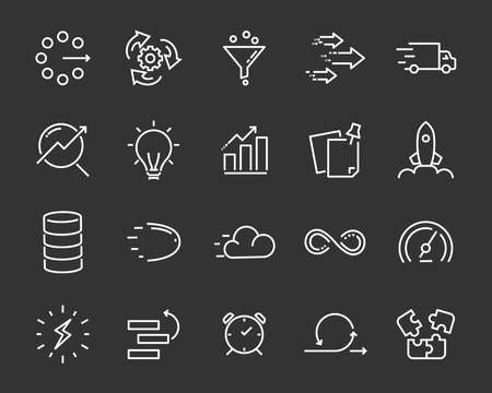 simple set of agile vector line icons, contain such lcon as speed, agile, boost, process, time and more 版權商用圖片 - 118138627