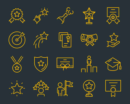 set of award line icons, such as star, champion, prize, acheivement, winner, trophy, glory, certificate