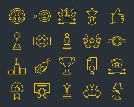 set of award line icons, such as star, champion, prize, acheivement, winner, trophy, glory, certificate Archivio Fotografico - 118138633