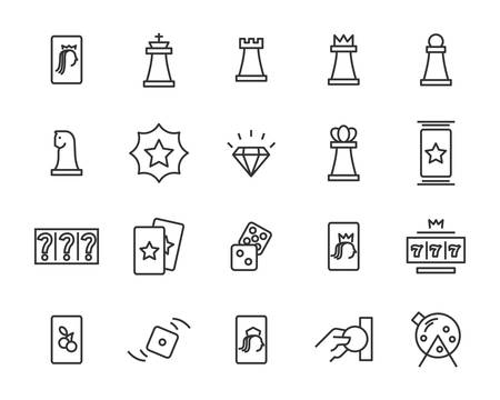 set of casino game vector line icons, such as blackjack card, jackpot, bet, luck and more