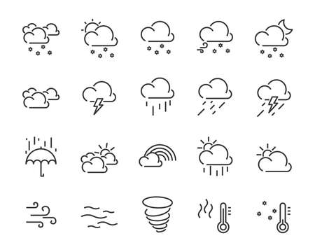 set of weather icon,such as cloud, sun, weather Banco de Imagens - 124987734