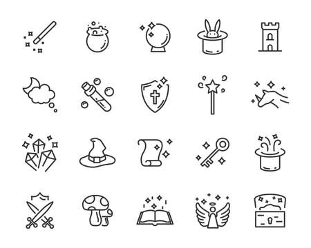 set of fantasy vector icons, magic fairytale Illusztráció
