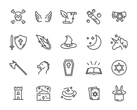 set of fantasy vector icons, magic fairytale Illustration