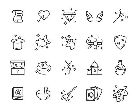set of fantasy vector icons, magic fairytale Ilustrace