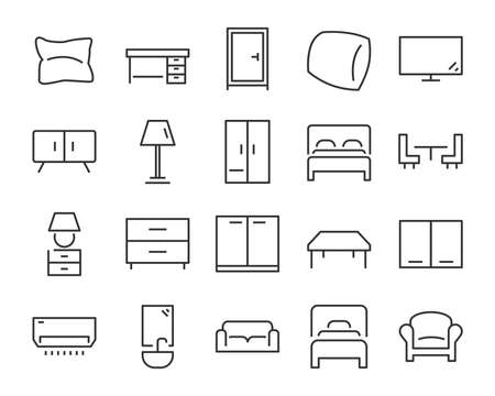 set of  furniture icons, such as bed, chair, desk