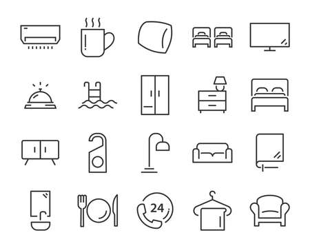 set of hotel icons, such as, bed, domitory, apartment, furniture, booking