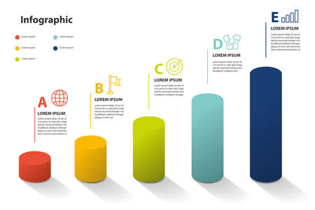 infographic element design 5 step, infochart planning