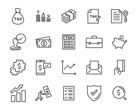 set of money line icons, such as currency, finance, digital, percent Stockfoto - 124987749