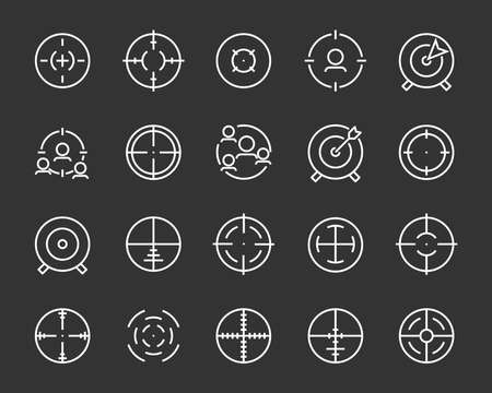 set of target line icons such as aim, hunting, accuracy Stock Illustratie