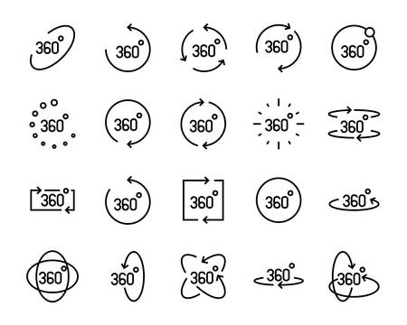 set of vr line icons ,such as 360 degree, virtual, reality, game Ilustração
