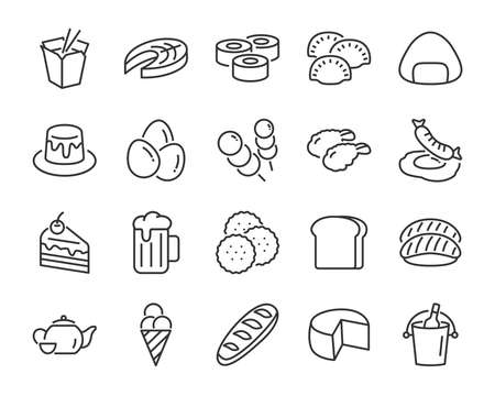 set of food icons, such as bread, sweet, breakfast