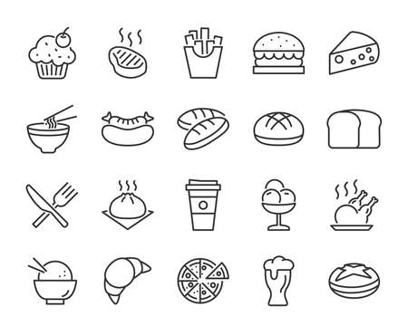 set of food icons, such as bread, meat, fries, breakfast, drinks
