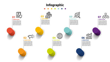 infographic elementontwerp 7 stappen, infochart-planning
