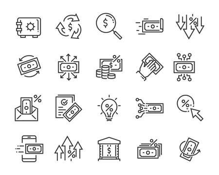 zestaw ikon linii pieniędzy, takich jak waluta, finanse, cyfrowe, procent